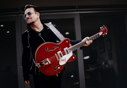 Bono with Gretsch RED Guitar