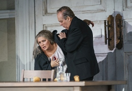 1324 Anna Netrebko as Leonora, Ferruccio Furlanetto as Padre Guardiano (c) ROH 2019 photograph by Bill Cooper